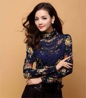 Fashion Women Lace Shirt Blouse Floral Design Turtleneck Long Sleeve Plus Size S-3XL Hot  Sale Women Shirts  Blouses Tops  E5155