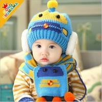 2014 Winter Autumn Newborn Crochet Hat Scarf Set Baby Boy Girl Ear Knitted Protector Cute Kids Christmas Handmade Caps Freesize