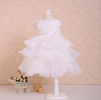 dress girl Pure white lace big waves dress christmas dress princess dress free shipping