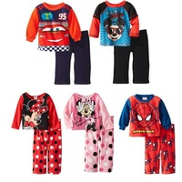 Free Shipping 25set Winter thicken cartoon Kid Clothing Sets Clothes,Cotton MINNIE mickey clothes,Baby Girl/Boy long-sleeve set