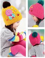 Winter models candy lollipops tide cap cartoon hat children plus velvet ear cap a generation of fat children