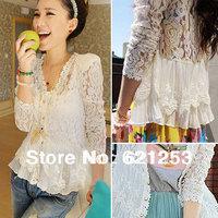 Fall 2013 Skinny Shoulder Pad Precious Mosaic Lace Shirt Cardigan Sunscreen Shirt Air-Conditioning 1Pcs 1029