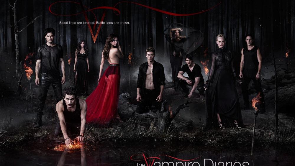 "P1133 24x42"" The Vampire Diaries Season 5 PROMOTIONAL PHOTOS giant poster canvas art work Print Poster Waterproof(China (Mainland))"