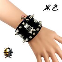 Non-mainstream skull rivet bracelet male women's the trend of fashion leather punk hand ring