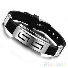 Men's Black Punk Rubber Stainless Steel Wristband Clasp Cuff Bangle Bracelet 2CW4(China (Mainland))