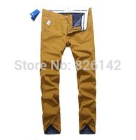 Hot Mens Designer Pants Classic Slim Fit Famous Brand Cotton Khaki Casual Men Pants Shampooers Trousers New 2015 Free Shipping