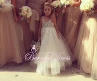 Little Girls Pageant Dress V-neck A-line Floor Length Custom Made Cheap Flower Girl Dresses Free Shipping vestido de daminha