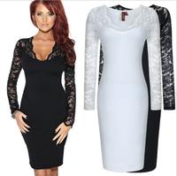 Vestidos Femininos 2014 Winter Women Dress Ladies Casual Long Sleeve V Neck Sexy Slim Black White Lace Party Office Tops Dresses