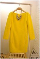 European Style Autumn And Winter O-Neck Casual Dress Women's Wool Long-Sleeved Dress Yellow Cotton Dress S M L XL XXL D60A1S