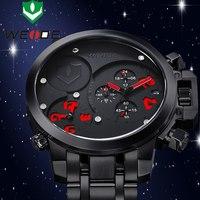 Super Quality WEIDE Men Sports Watches Men Luxury Quartz Movement Black Military Watch Men Full Steel Watch Relogio Masculino