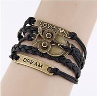 Variety Select 2014 new fashion Female Leather Bracelets Multilayer Bracelet jewelry High Quality Wing bird cross owl