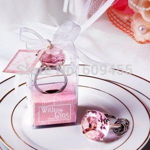 Small Wholesales+Wedding Gift Crystal Keychain Pink Key Chain Ring Favors+30set/lot+FREE SHIPPING(China (Mainland))