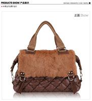 Free shipping/new 2014/bags/woman handbag/genuine leather/rabbit/tote/shoulder bag lady/fashion designer/brand