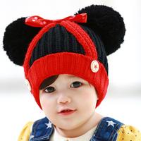 2015 Top Fashion Winter Autumn Lovely Ears Newborn Crochet Hats Baby Boy Girl Cute Bowknot Kids Christmas Handmade Caps Freesize