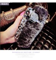 luxury Rabbit hair fox fur head  diamond case for iPhone 6  fur bling bling case for iphone 6