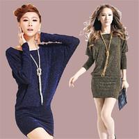 Spring 2014 Women Slim Long Batwing Sleeve Package Hip Dress Plus Size MINIE Dress 2XL 10312