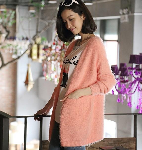Yoyo Miss Monica Chen Tang of fresh loose candy color Joker mohair Cardigan Pocket sweater coat women(China (Mainland))