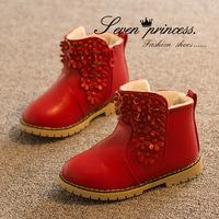 The new  winter Korean children girls in children  low tube plus velvet warm cotton-padded shoes snow boots