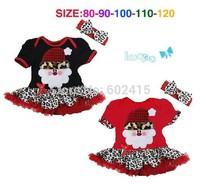 5set Children girl's 2014 Summer  Christmas Santa Claus leopard print dress+hairband 2-piece/set 15460