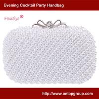 Diamond metal bow clasp elegant pearl handbag