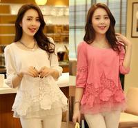 Women Blouses 2014 New Vintage Hollow Flower Crochet Lace Blouse Blusa Tenda Chiffon Blouse Tops Clothing Roupas Femininas