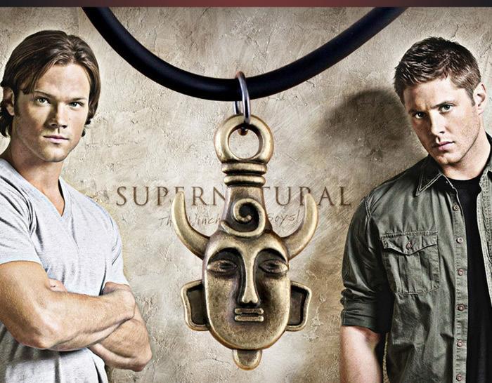 Film Supernatural Dean Winchester Mask Amulet Leather Strap Movie Necklace Demon Pendants Antique Golden/Bronze/Silver Jewelry()