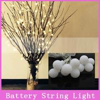 1 set Battery Christmas Plastic String Light 2m 20 LED Ball Wedding Holiday Indoor Outdoor Decoration String Lighting White