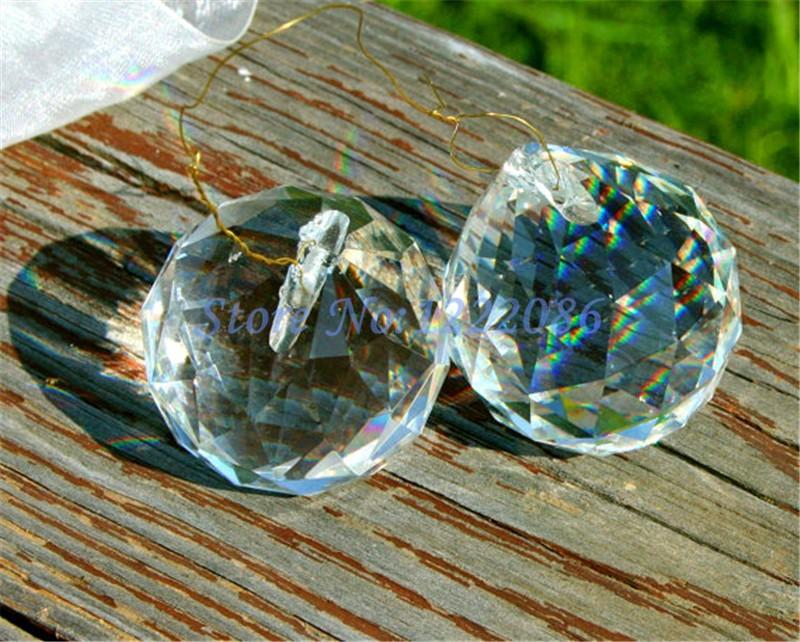 1Pcs Hanging Crystal Ball Prism Suncatcher Feng Shui Pendants 50mm(China (Mainland))