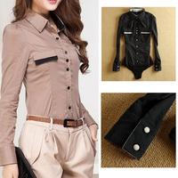 Fanshou Free Shipping 2014 Fashion Women Blouses Full Sleeve Slim Body Shirt Office Lady Bodysuit Casual Shirt Blusas Femininas