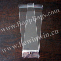 8x23.5cm clear opp cello Hang Hole Poly Bags Resealable with header for wholesale and retail & Free Shipping