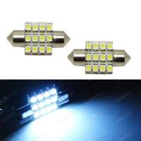 """White 12-SMD LED Bulbs For Car Interior Dome Lights 1.25"""" 31mm DE3175 DE3022"""