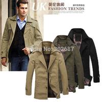 High Quality Men Cotton Trench Coats Men Fashion Jacket Coat Free Shipping 1PCS