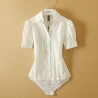 Fanshou Free Shipping 2014 Women Blouses Short Sleeve Summer Shirt Turn-Down Collar Body Shirt Women Casual Bodysuit Blusas
