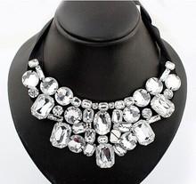 Black crystal false collar big necklace/moda gypsy boho chic cheap costume jewelry women/maxi colar de pedras pretas/max colares