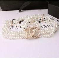 2014 women's fashion wild pearl elegant pearl beaded waist chain belt free shipping
