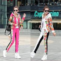 2014 NEW Winter Duck Down Jacket Women Suit  Spring Autumn Plus Size Floral Printed Slim Casual Parka (Coat+Pants) Set