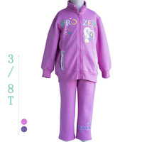 New winter 2014 Baby girls Clothes Frozen Princess Elsa & Anna Costume Polar Fleece Sweater Sport Suit children's clothing sets