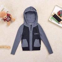 2014  New  Retail  Brand  fashion  spring/autumn  children's sweater long  sleeve zipper  hooded  patchwork  pattern boy's coat
