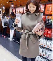 2014 Women winter woolen fabric coat with belt free wool jackets