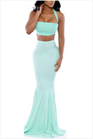Free Shipping 2015 Sexy Fashion Halter Crop Top with Mermaid Maxi Skirt Set NA6768 Casual Women Long Skirts With Cropped Top