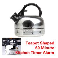 Life Helper 60 Minute Kitchen Timer Alarm Mechanical Teapot Shaped Timer Clock Counting V3NF