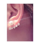 Fashion luxury rhinestone shine after stud earring beautiful big pearl earrings