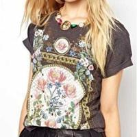 2014 New Fashion Women T-Shirt Royal Wind Flower Print O-Neck Short-Sleeve Roll Up Hem Cotton T-Shirts 3 color