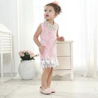Hot sale!  wholesale summer new Korean Boutique lace  dress baby girls chiffon dresses with Bead flower collar 5pcs/lot