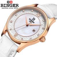100% Original fashion Binger brand Leather strip quartz 18k watch female Wristwatches Korean women's elegant watch Free shipping