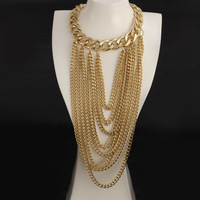 High Quality Brand New statement necklace Fashion 18k Gold necklace long necklace for women European Style Big Necklace FSN034
