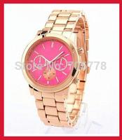 2014 New Brand Women watch men Gold alloy Quartz steel watch Dress watches Fashion Sports wristwatch Drop shipping