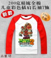 Spring and autumn Children's clothes Plants vs zombies T-shirt multicolour 100% cotton Plants vs . zoombies long-sleeve t-shirt