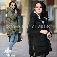 2014 new fashion women Europe style fashion loose medium long autumn winter plus size down parkas lady coat parka  down coat