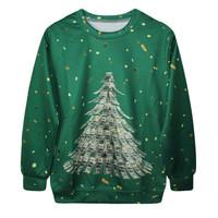 Fashion Harajuku Sweaters and Pullovers Digital Printed Sweatshirt Xmas 3D Money Tree women's hoodies